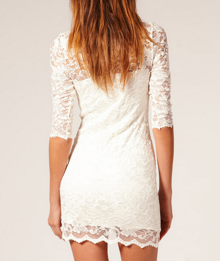 Scalloped Lace Half-Sleeves Dress
