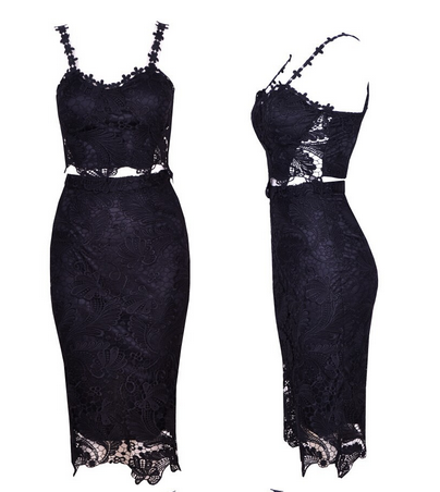 Vintage Lace Crochet Two-Piece Cropped Bodycon Midi Dress