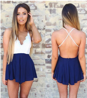Lace Colorblock Cross Back Romper
