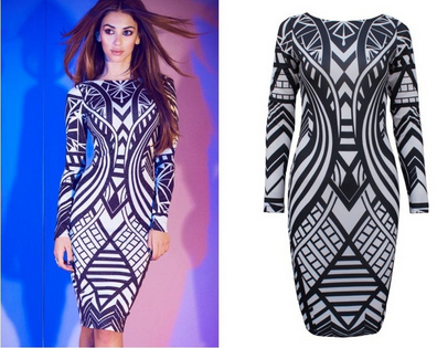 High Fashion Geo Bodycon Dress
