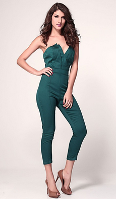 Origami Pleated Bust Jumpsuit Emerald