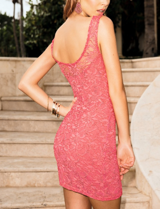 Coral Full Lace Sleeveless Bodycon Dress