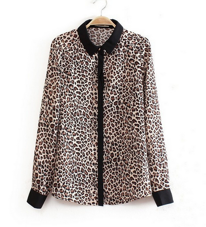Leopard Printed Contrast Collar Shirt