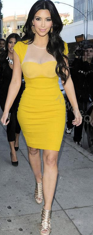 Canary Yellow Sweetheart Bodycon Pencil Dress