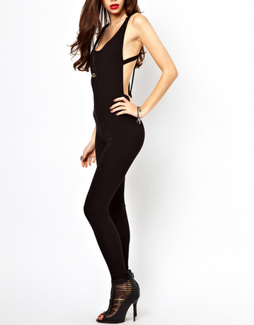 Ultimate Black Backless Cutout Pants Jumpsuit