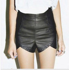 Black Leather Motorcyle Scalloped Shorts