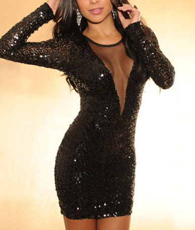 Low-cut Deep V-neck Sequins and Mesh Bodycon Dress