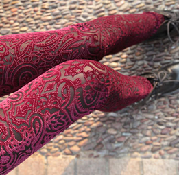 Vintage Red with Gold Tracings Velvet Leggings