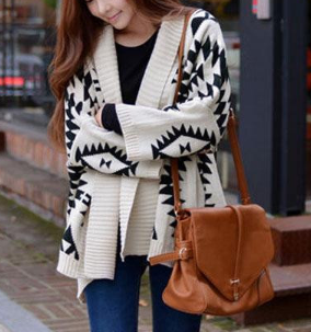 Oversized Geometric Patterned Open Cardigan