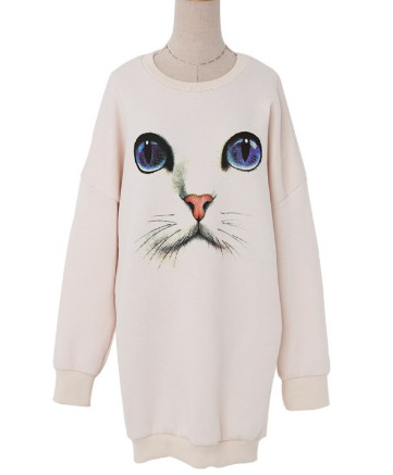 Oversized Thick Kitty Cat Face Pullover