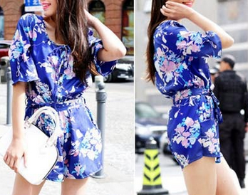 Royal Blue Spring Floral Romper