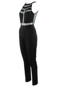 Peek-a-boo Panel Full Length Jumpsuit
