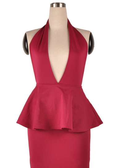 Exposed Plunge Peplum Bodycon Dress