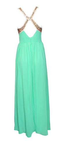Gold Sequins Chiffon Maxi Dress Mint Green