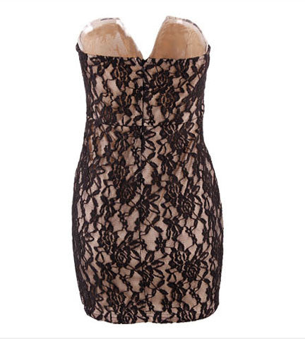 Lace Exposed Strapless Mini Bodycon Dress