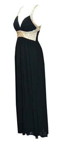 Gold Sequins Chiffon Maxi Dress Black