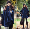 Navy Double-Breasted Cape Wool Poncho Cloak