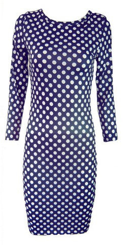 Retro Navy White Polka Dot Pencil Dress
