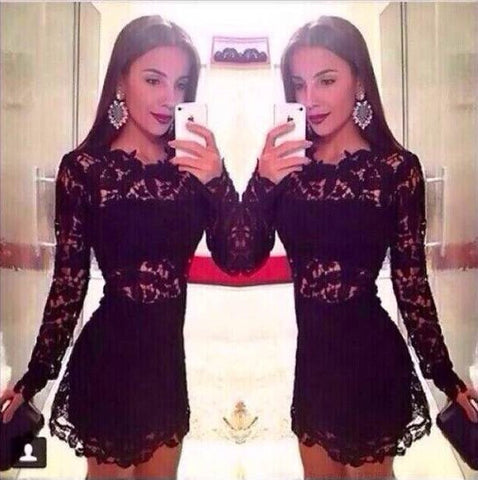 Exquisite Luxe Lace Mesh Little Black Dress