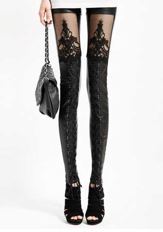 Black Lace Mesh & Leather Stitched Tights