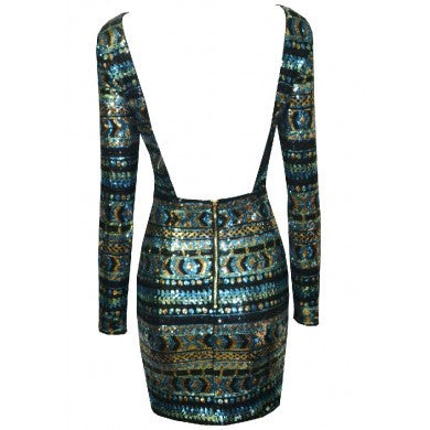 Emerald Dream Patterned Sequins Dress