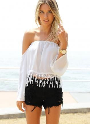 Tassel Off-Shoulder Crochet Blouse