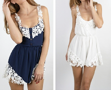 Pretty Floral Lace Romper Navy Blue