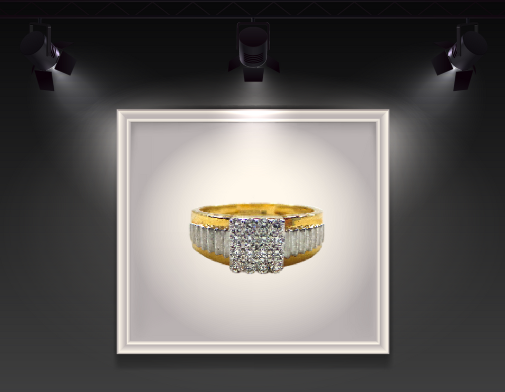Diamond embedded gold ring