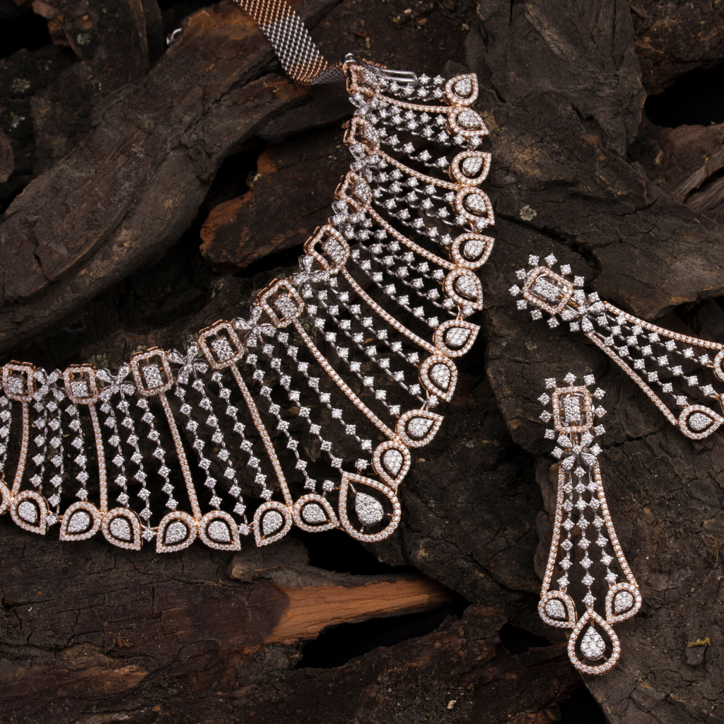 White- Diamond necklace & earring set
