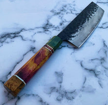 Load image into Gallery viewer, Cutlery Luxury - Technicoloured Carbon Drip Nakiri Knife