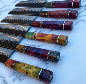 Cutlery Luxury - Technicoloured Carbon Drip Nakiri Knife
