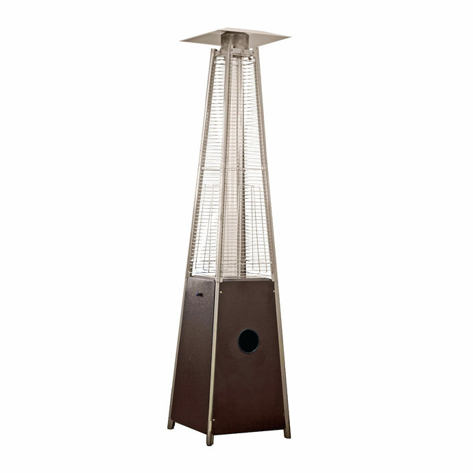 AZ Patio Tall Outdoor Triangle Glass Tube Liquid Propane Heater, Hammered Bronze Red