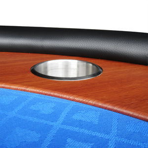 IDS POKER Poker Table for 10 Players Oval 96 x 43 Inch Racetrack Cup Holders Blue Speed Cloth Stainless Pedestal Base