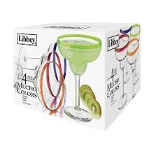Load image into Gallery viewer, Libbey Colors Margarita Glass Set, 4-Piece