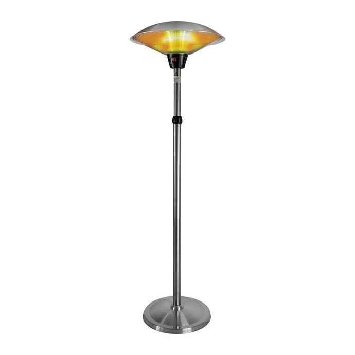 Electric Patio Heater 1500W for Outdoor Heating with Adjustable Height, Quiet Operation, Free Standing and Waterproof Space Warmer Silver