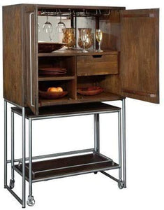Howard Miller Bar Cart Wine & Bar Cabinet 695-222 – Distressed Medium Brown Finish, Home Liquor Storage, Portable Serving Console, Four Wheel Casters, Stemware Rack