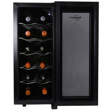 Load image into Gallery viewer, Koolatron WC12DZ Dual Zone Thermoelectric Cooler 12 Bottle Capacity with Digital Temperature Controls-Wine Cellar with Quiet Cooling Power and 4 Removable Shelves, Black/Silver
