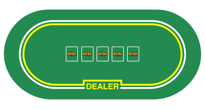 Roll Out Gaming No-Slip Rubber Foam Casino Table Top Layout Poker with Dealer Table Top