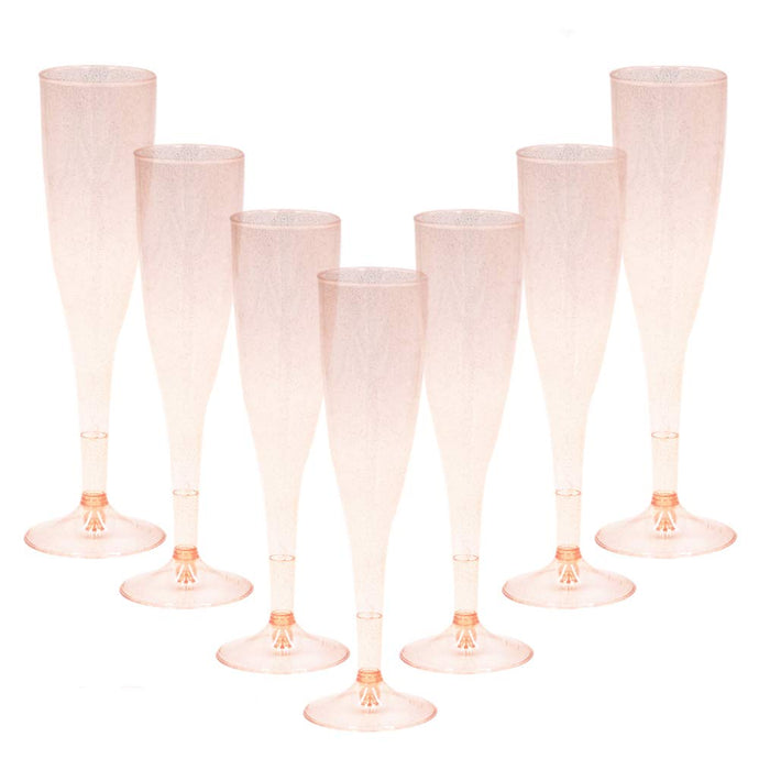 Homy Feel Gold Glitter Plastic Pink Wine Glasses 30 Pack, Champagne Flutes Disposable