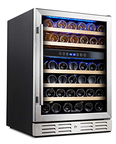 Kalamera 24'' Wine Cooler Refrigerator 46 Bottle Dual Zone Built-in or Freestanding Fridge with Stainless Steel & Triple-Layer Tempered Reversible Glass Door and Temperature Memory Function