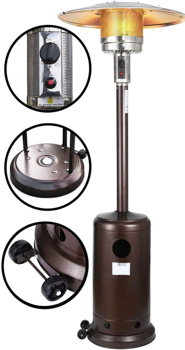 Gorilla Gadgets Patio Heater - Propane Outdoor Heater 48000BTU, Outdoor Patio Heater with Overheat Protection, with Wheels for Restaurants, Garden and Commercial Use (Brown) Brown