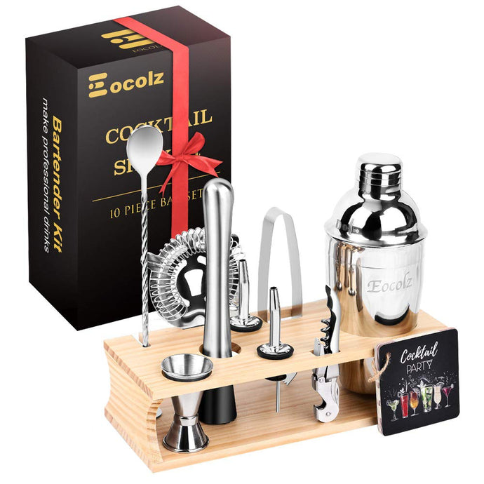 Eocolz Cocktail Shaker Bar Set Bartender Kit with Stand Accessories: Martini Shaker, Jigger, Strainer, Mixer Spoon, Tongs, Pourer, Muddler, Bottle Opener | Professional Bar and Home Drink Making Tools