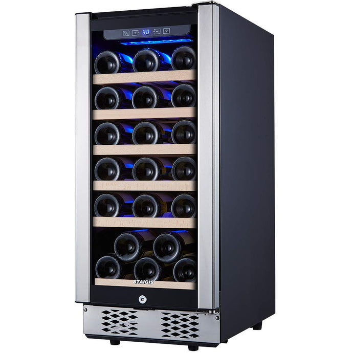 STAIGIS Wine Cooler - 15 Inch Wine Fridge for 30 Bottles - Small Wine Refrigerator with Glass Door and Concealed Handle - Freestanding 30-Bottle Mini Wine Chiller for Home, Office, Kitchen and Bar 15-INCH