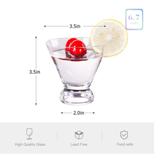 Vastto 6.7 Ounce Classic Martini Glass,for Home Dinning,Bar and Party,Set of 6 (Clear) Clear
