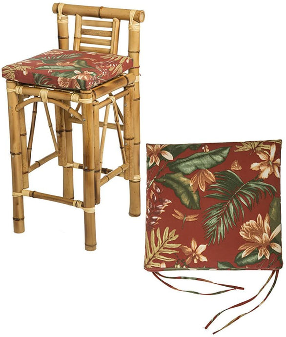 Set of Two Tiki Barstool Cushions - Burgundy