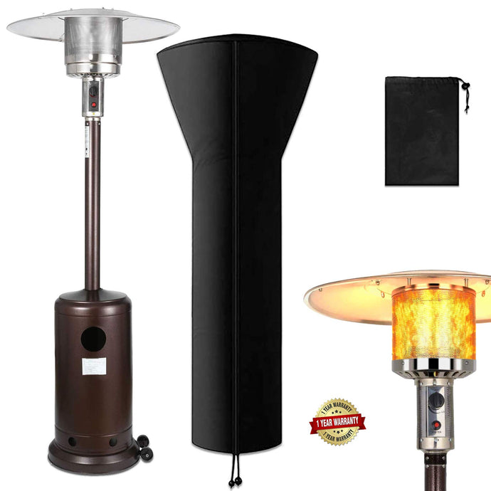 Raoccuy❤Outdoor Propane Powered Patio Heater with Cover - Modern Commercial Thermal Heaters 48000 BTU Stainless Steel - Floor Tall Standing with Wheels for Garden,Champagne