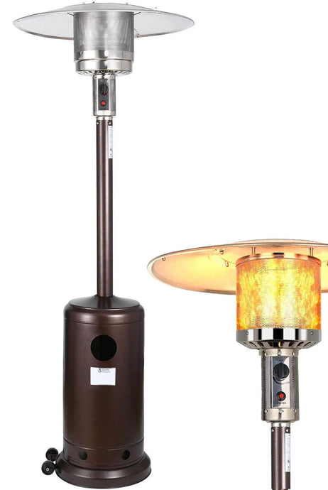 Patio Heater - Gas Outdoor Heater, Outdoor Patio Heater, with Overheat Protection, with Wheels - Ideal for Garage, Garden, Patio (Bronze)