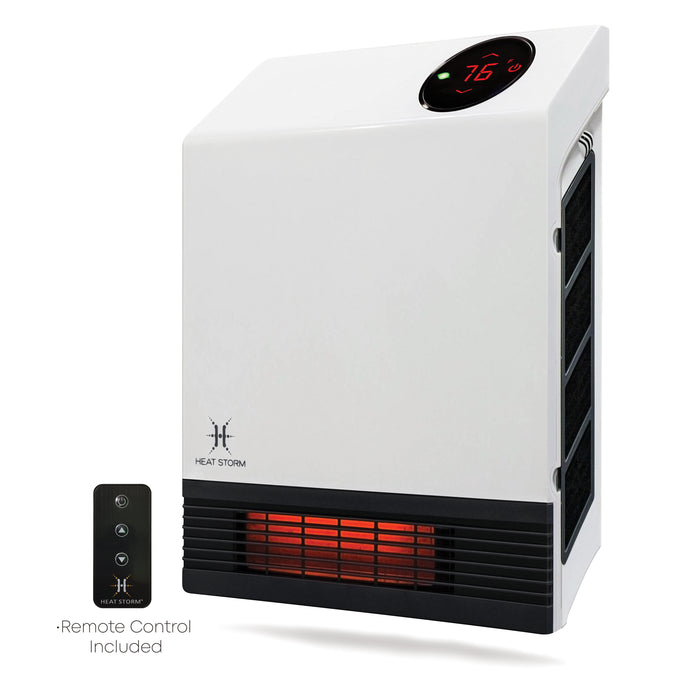 Heat Storm Deluxe Infrared Quartz Wall 1000W Heater, Indoor, White, HS-1000-WX