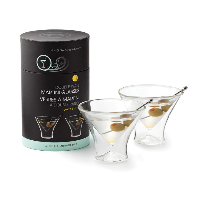 Outset Stemless Martini Glasses Double Wall, Borosilicate Glassware
