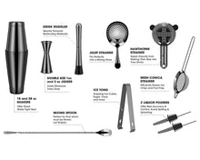 Load image into Gallery viewer, Cocktail Shaker - Koviti 12 Piece Bartender Kit - Stainless Steel Cocktail Shaker Set, Premium Bar Tools : Martini Shaker, Muddler, Jigge, Mixing Spoon, Strainers, Ice Tong, Liquor Pourers Black